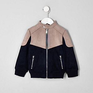 Mini boys pink racer neck faux suede jacket