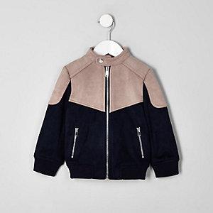 Mini boys pink racer neck faux suede jacket