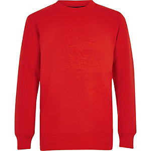 Boys RI Studio red scuba embroidered sweater