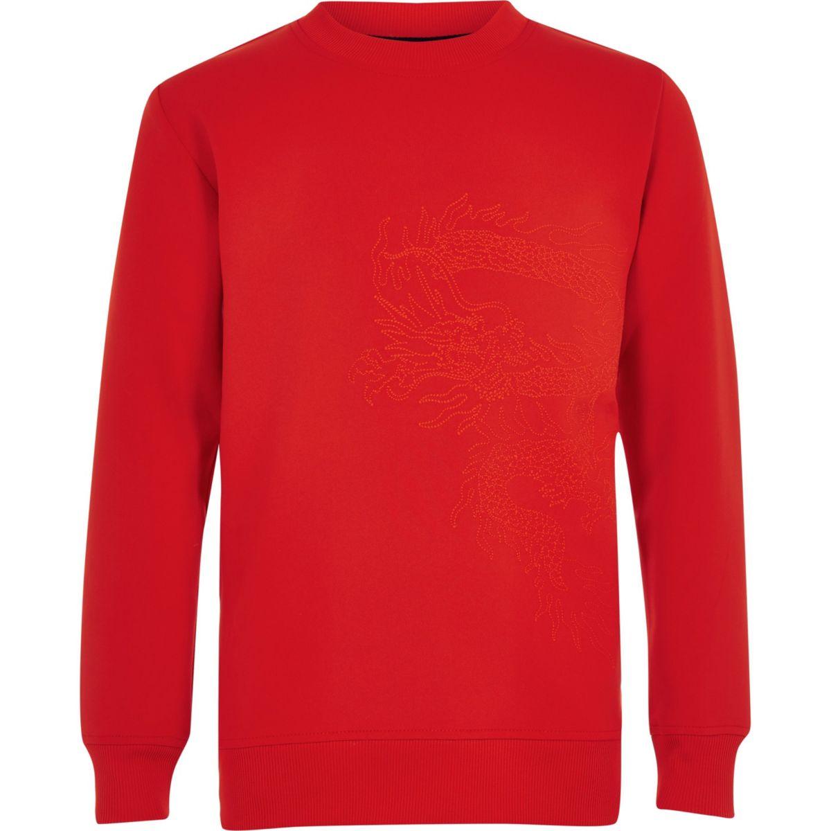 Boys RI Studio red scuba embroidered sweater