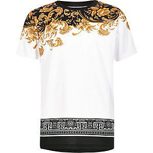 Boys white baroque mesh T-shirt