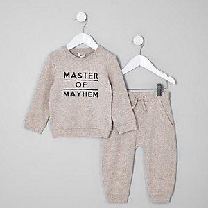 Mini - Grijze 'master of mayhem' outfit voor jongens