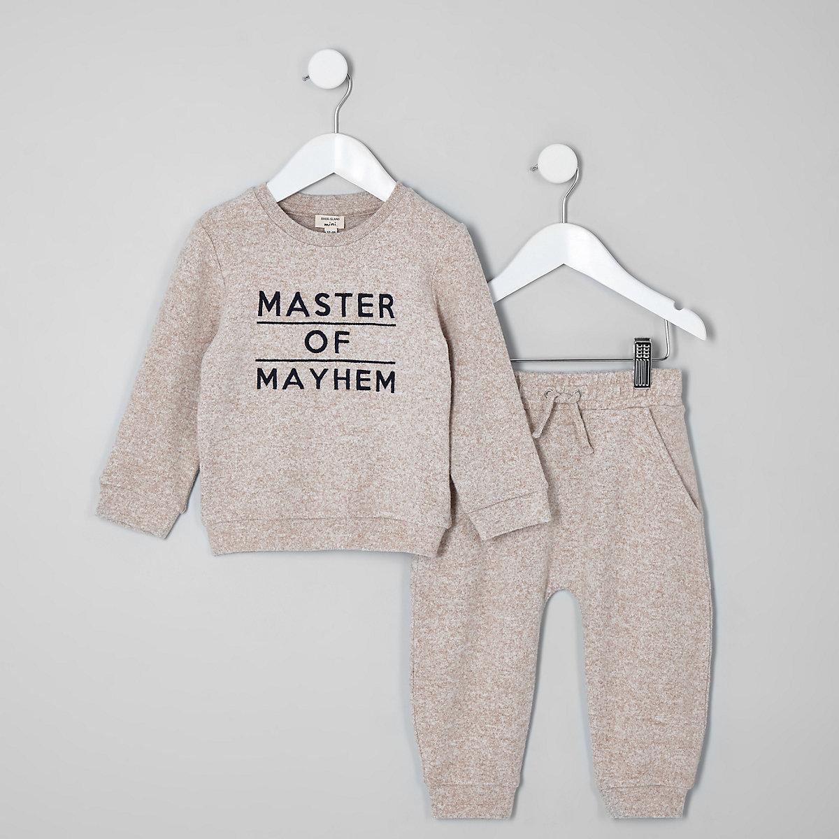 Mini boys grey 'master of mayhem' outfit