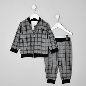 Mini boys grey marl check tracksuit outfit
