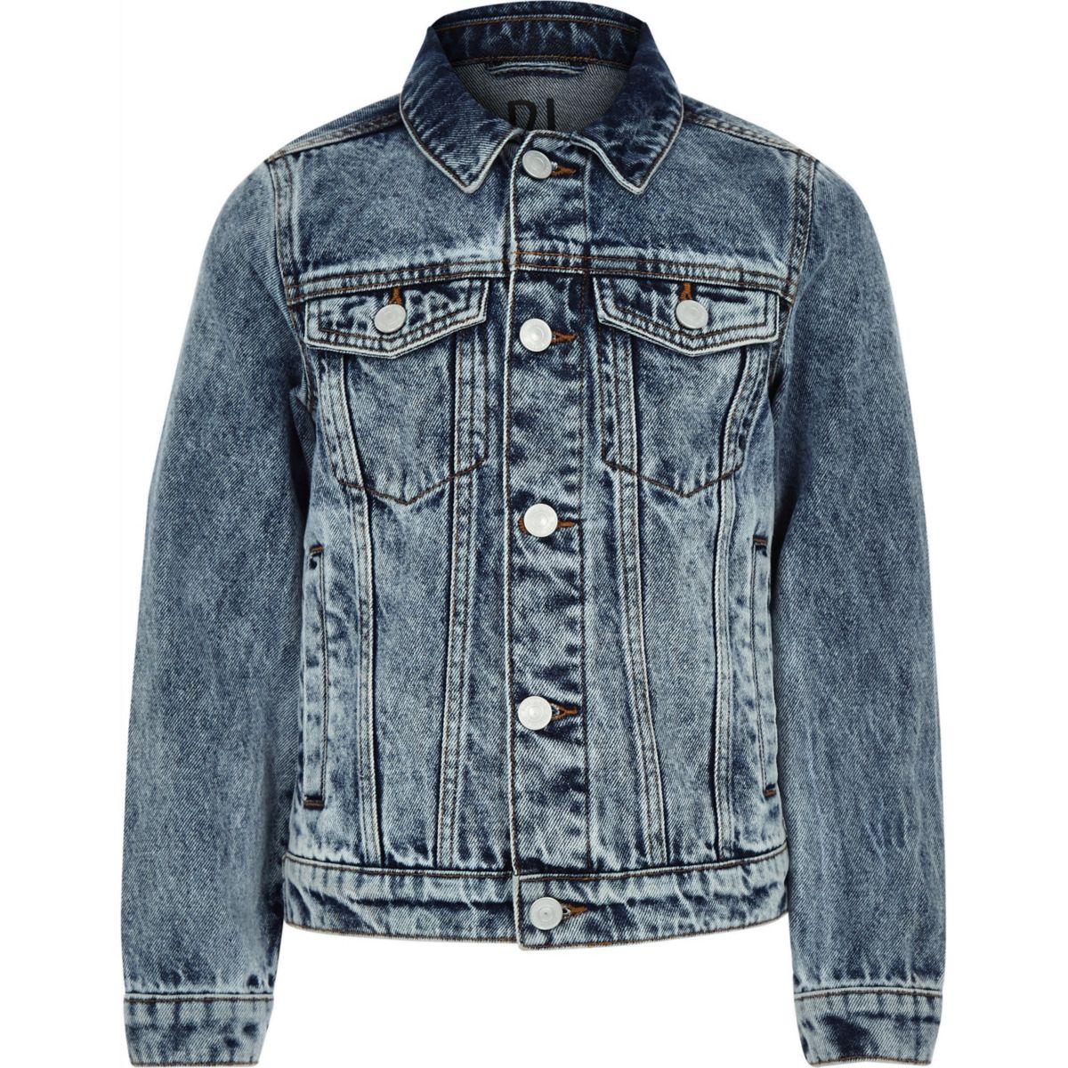 Boys RI Studio blue acid wash denim jacket