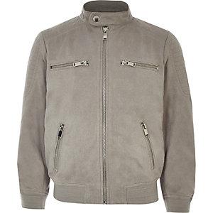 Graue Jacke aus Wildlederimitat