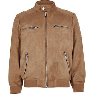 Boys brown faux suede racer neck jacket