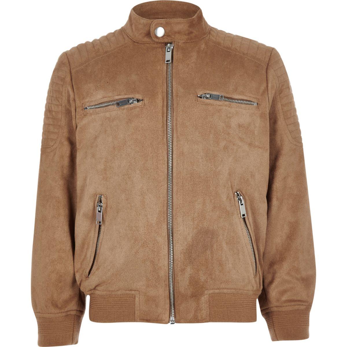 Boys brown faux suede racer neck jacket