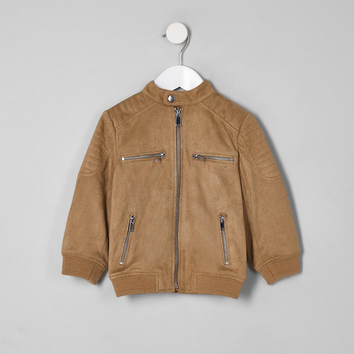 Mini boys brown faux suede racer jacket