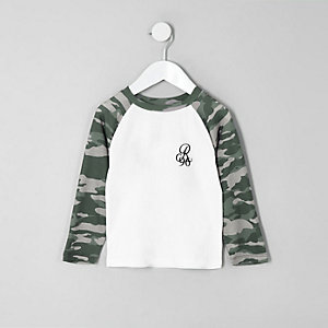 Mini boys 'R96' camo raglan long sleeve shirt