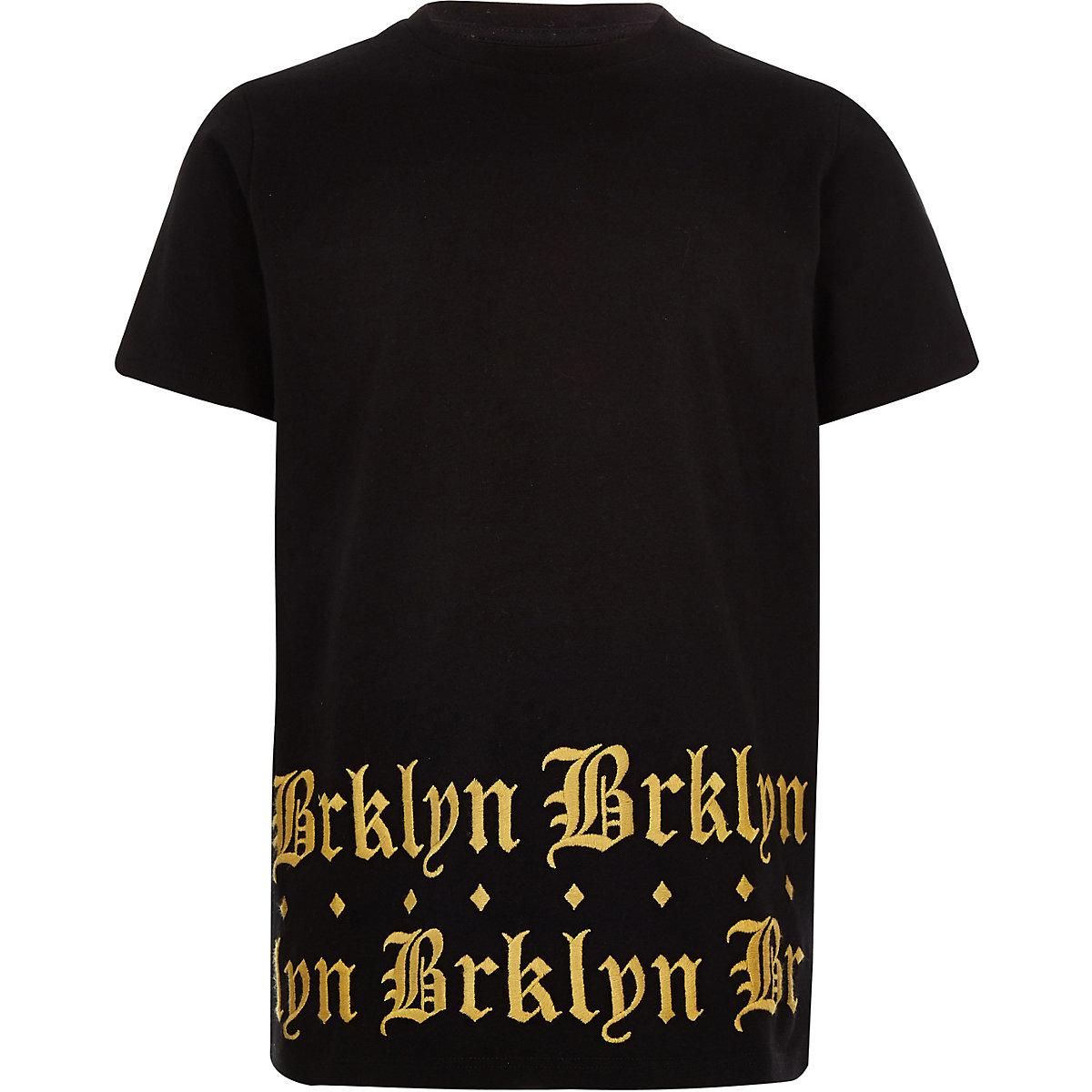 Boys black 'brklyn' print hem T-shirt