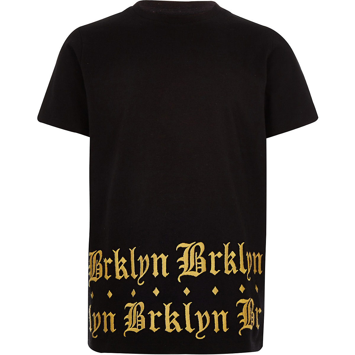 Boys black 'brklyn' print hem T-shirt