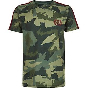 T-shirt camouflage kaki à bandes latérales pour garçon