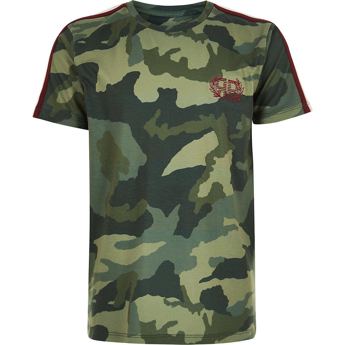 Boys khaki green camo tape side T-shirt