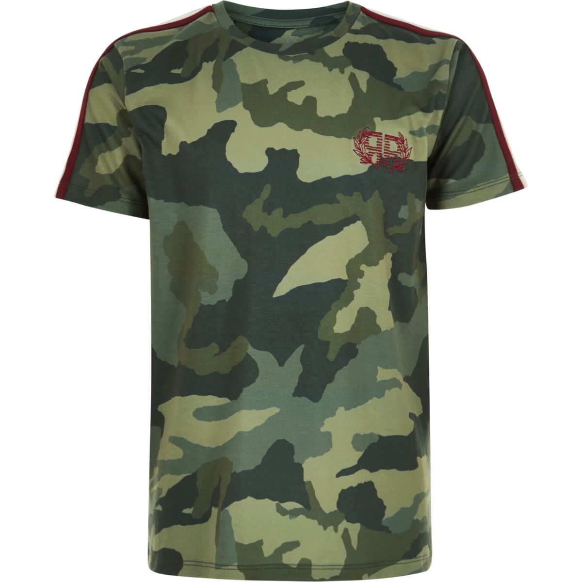 Boys khaki green camo tape side T-shirt