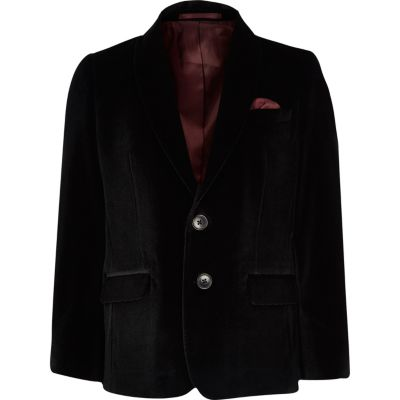 Boys Black Velvet Blazer by River Island