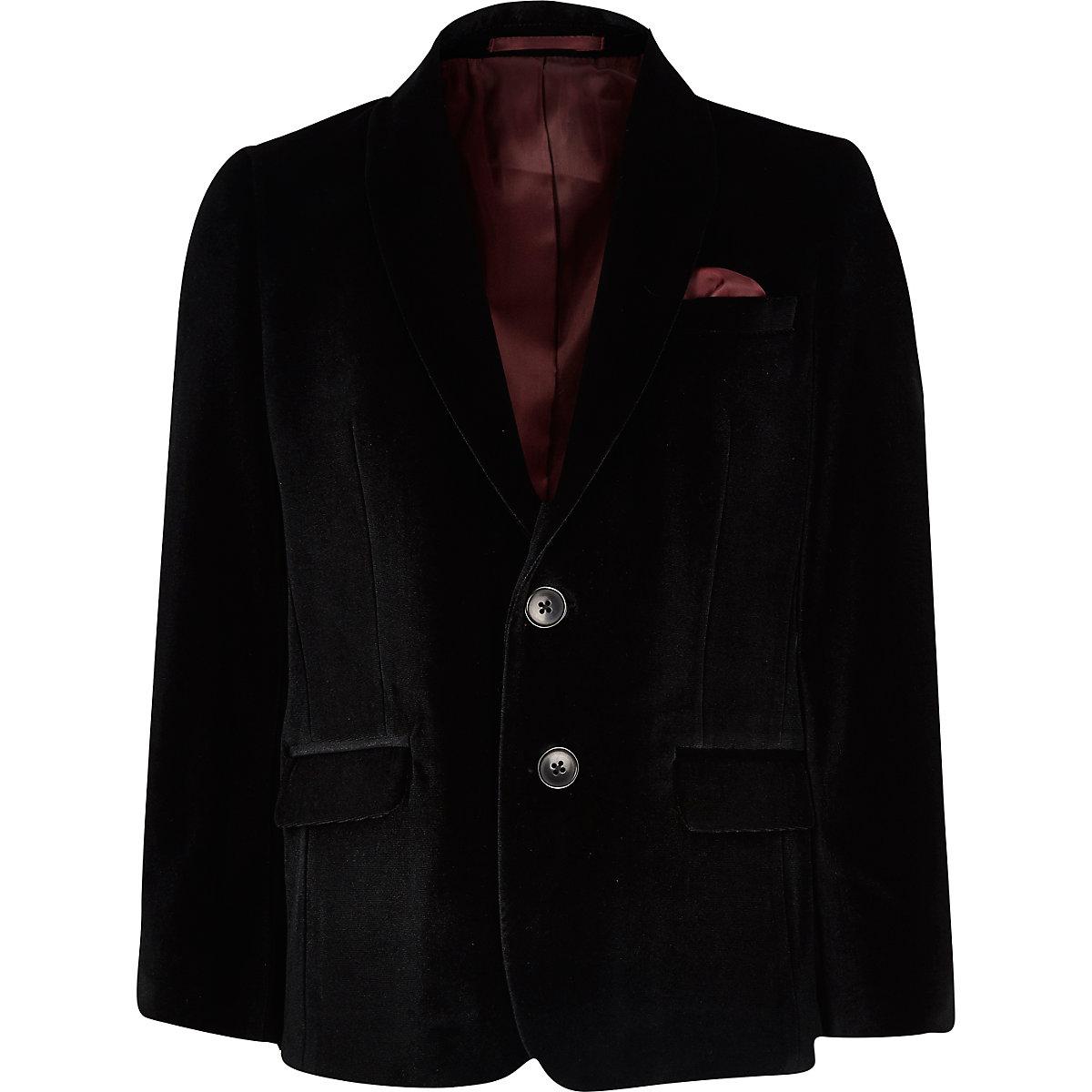 Boys black velvet blazer