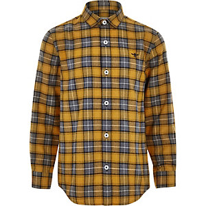 Boys yellow check button-up shirt
