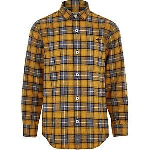 Chemise à carreaux jaune boutonnée pour garçon
