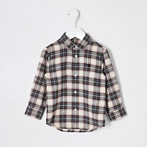 Mini boys check long sleeve shirt
