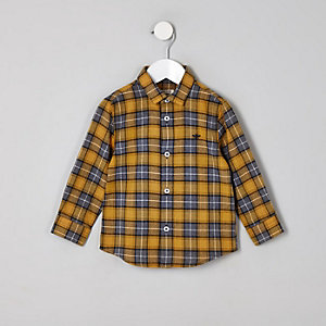 Mini boys yellow check button-up shirt