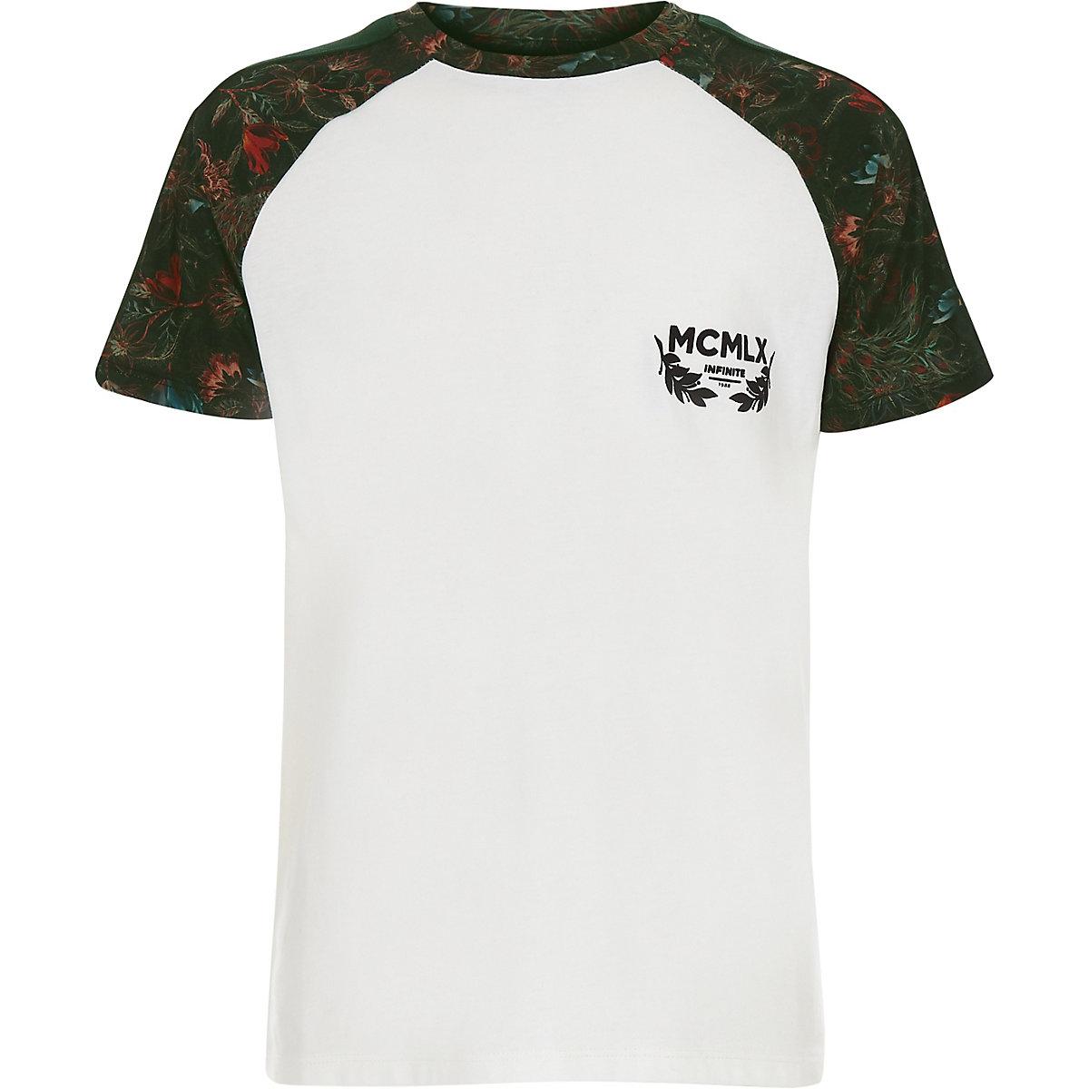 T-shirt à fleurs blanc à manches raglan et bords contrastants