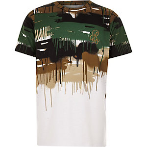 Boys white 'R96' camo drip faded T-shirt