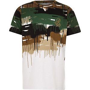 Wit T-shirt met 'R96'- en camouflageprint en kleurverloop voor jongens