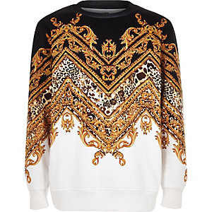 Boys black baroque print chevron sweatshirt