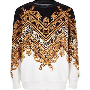 Zwart chevron sweatshirt met barokke print voor jongens