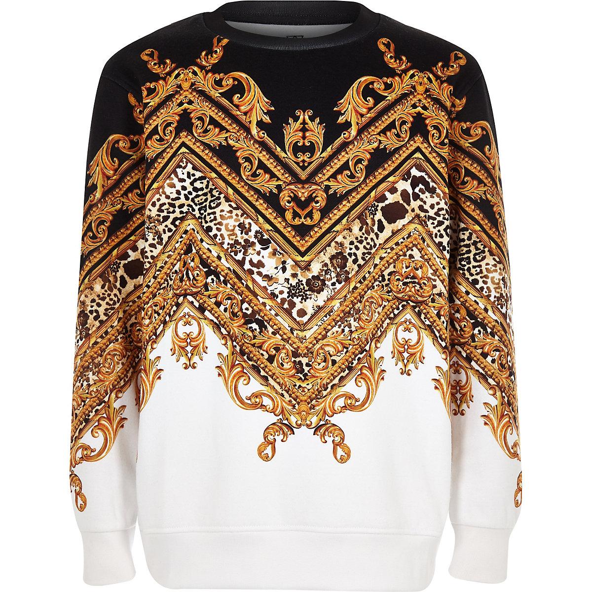Boys black baroque print chevron sweatshirt