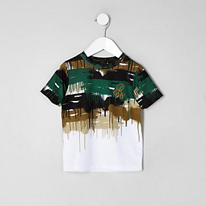 Mini boys white 'R96' camo drip faded T-shirt