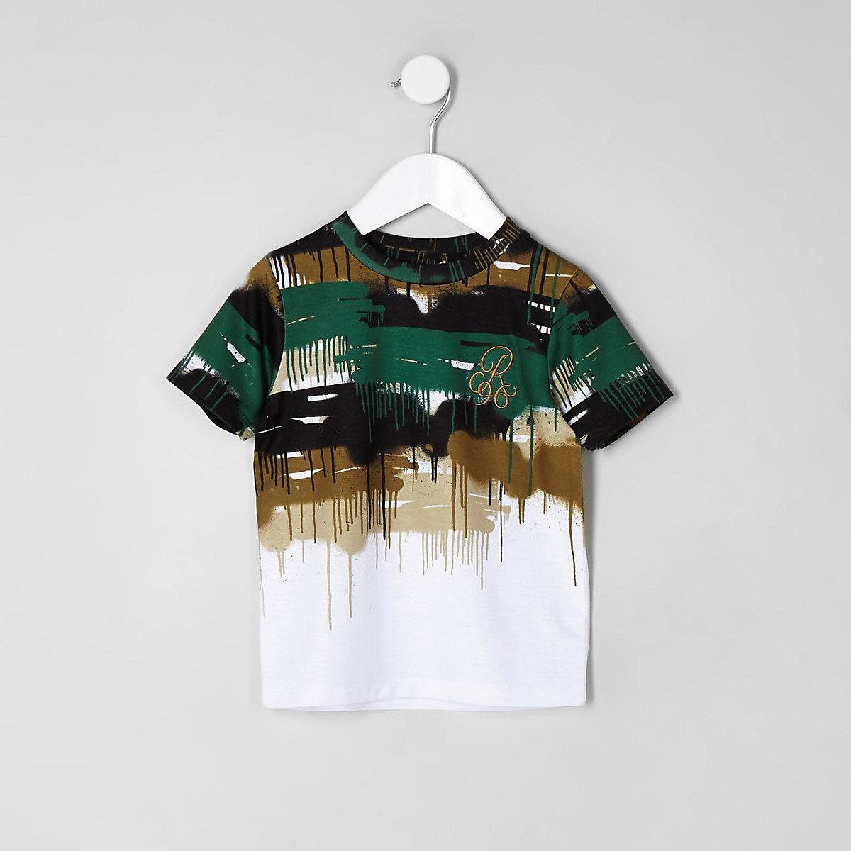 T-shirt «R96» imprimé camouflage dégoulinant blanc délavé