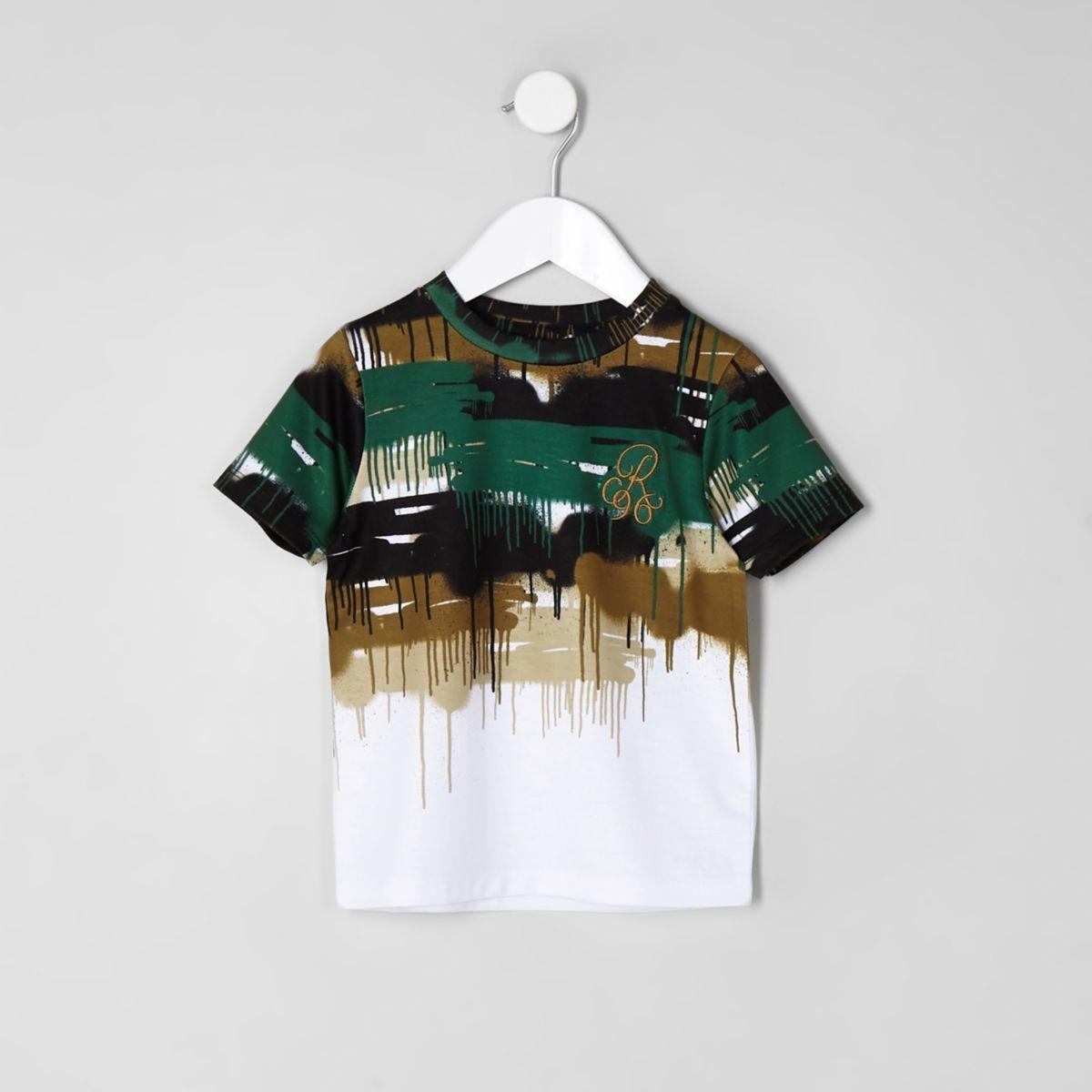 Mini boys white 'R96' camo drip faded T-shirt