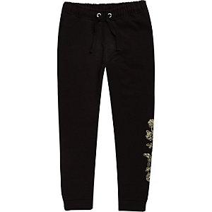 Pantalon de jogging noir brodé de roses pour garçon