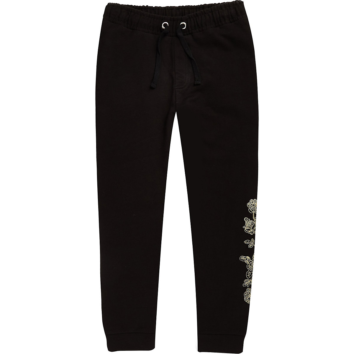 Boys black rose embroidered joggers