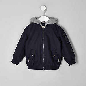 Mini boys navy hooded bomber jacket