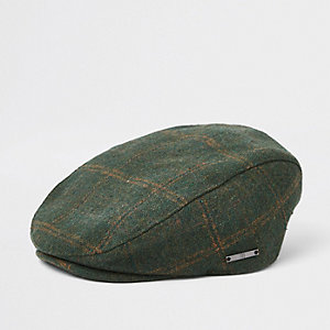 Mini boys green check flat cap