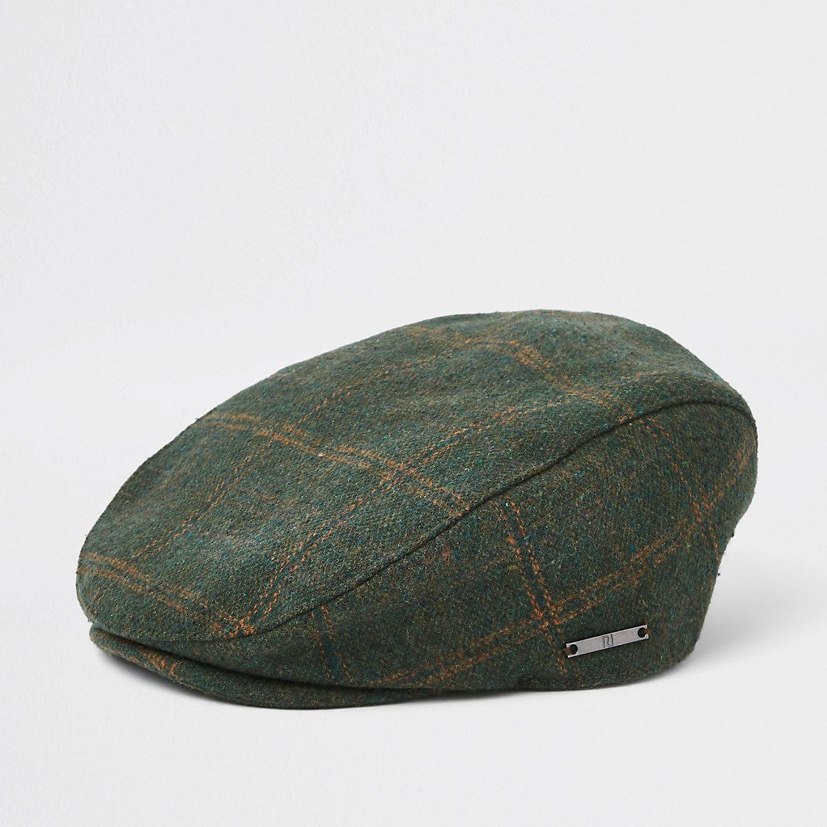 Mini boys green check flat cap