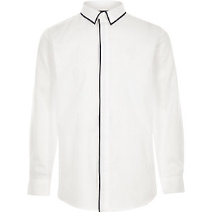 Boys white RI piped long sleeve shirt