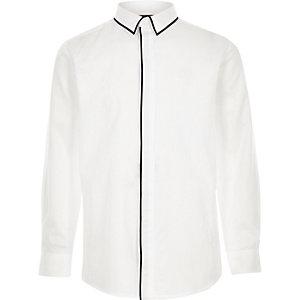 RI – Chemise manches longues blanche à bordures contrastantes garçon