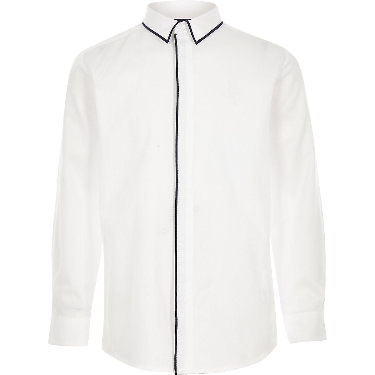 Boys white RI piped long sleeve shirt