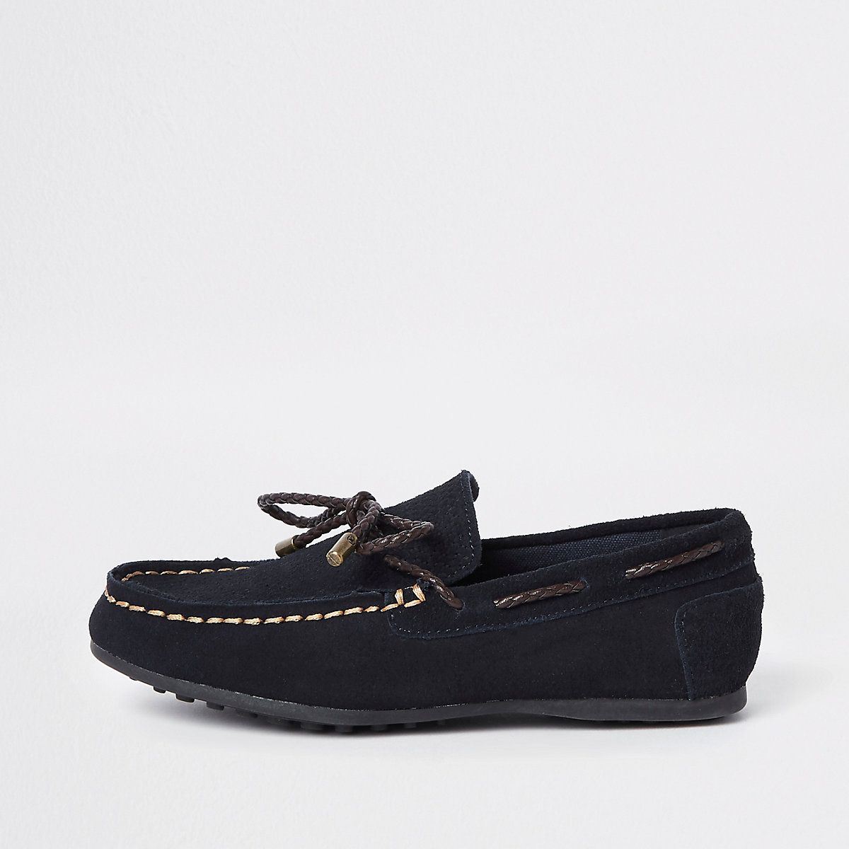 Boys navy tie front loafers