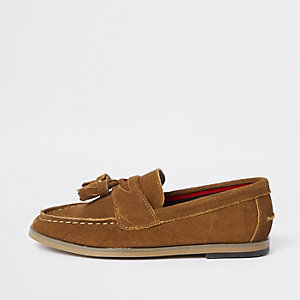 Boys brown tassel loafers