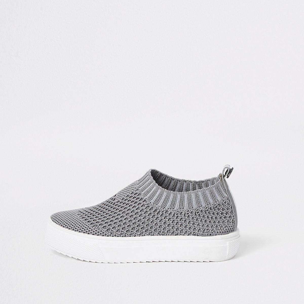 Mini boys grey mesh sock plimsolls