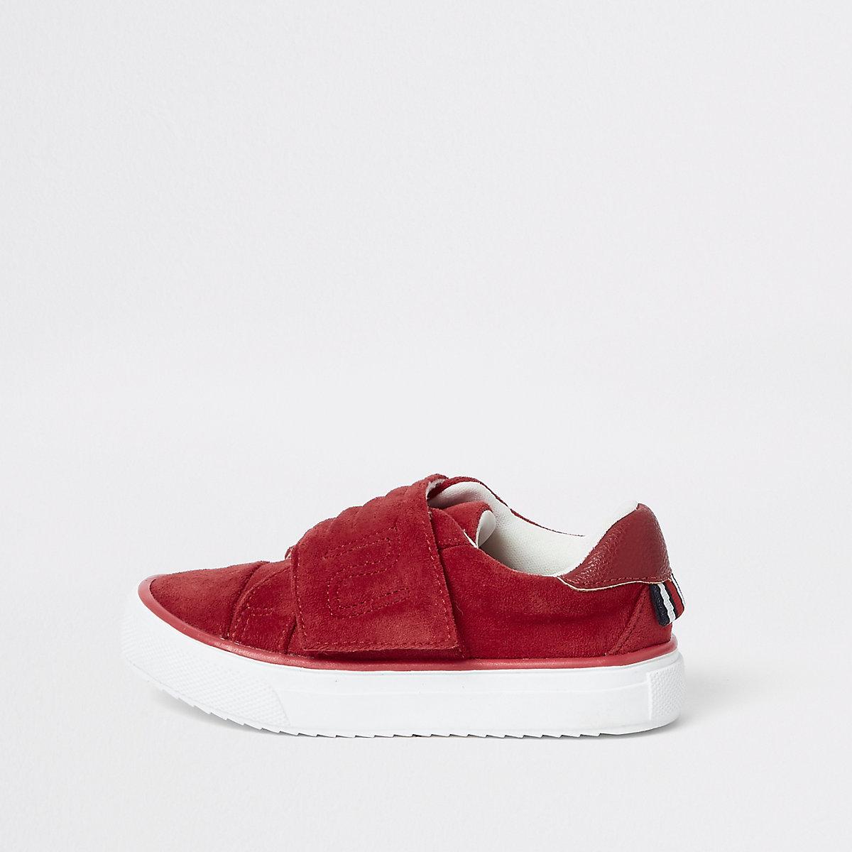 Mini boys red RI velcro plimsolls