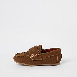 Hellbraune Loafers mit Klettverschluss