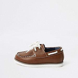 Mini - Bruine bootschoenen met vetersluiting voor jongens