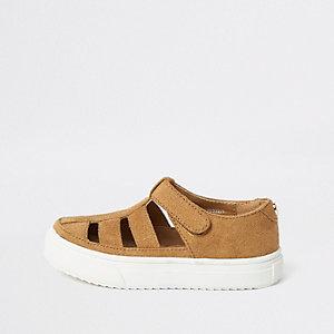 Sandales marron clair à découpes pour mini garçon