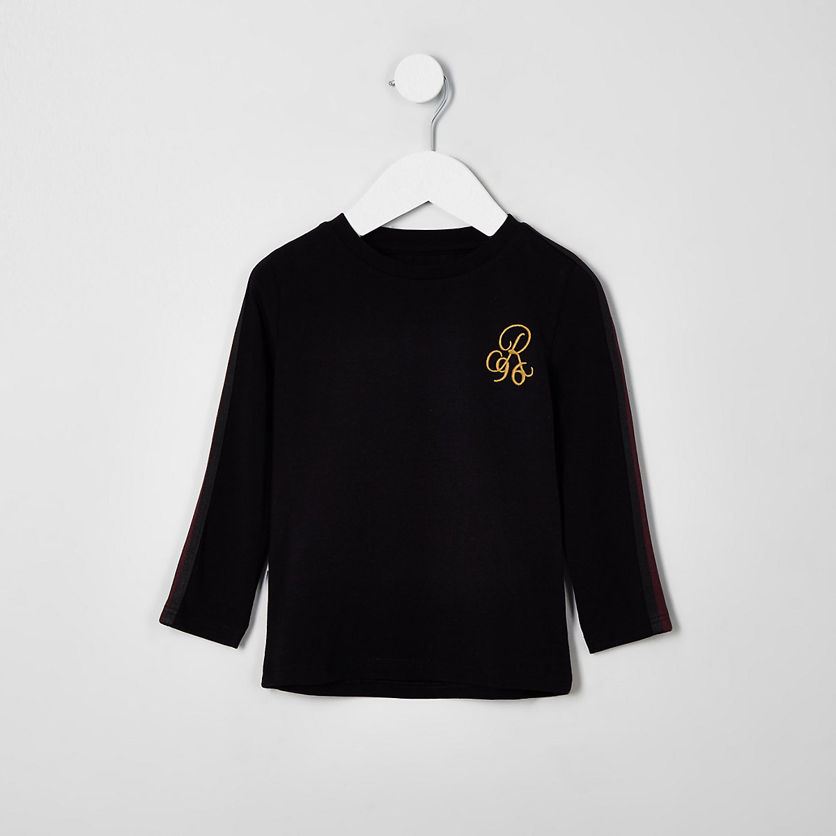 Mini boys black 'R96' tape long sleeve top